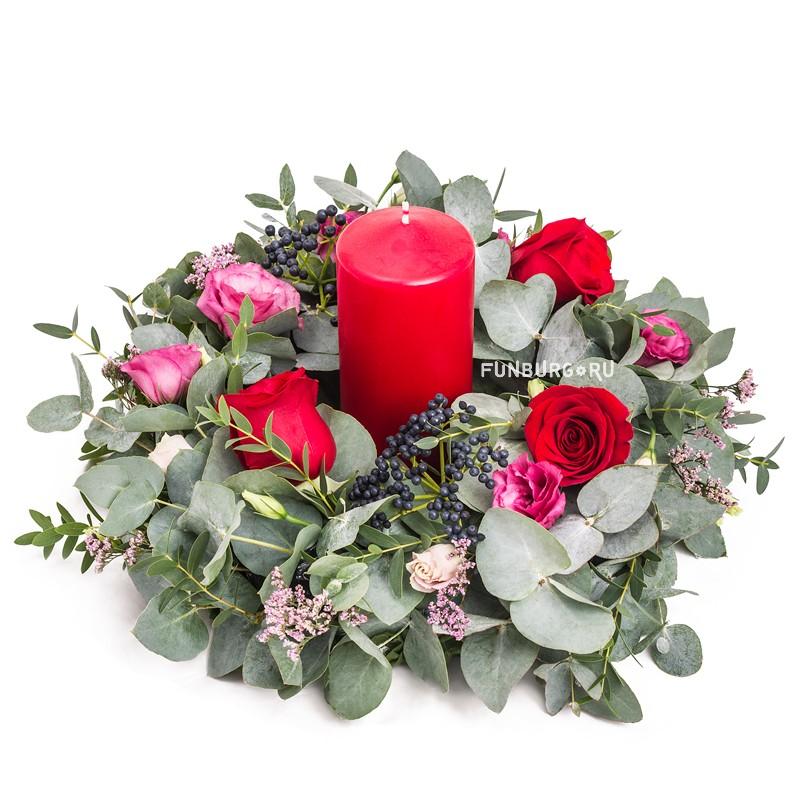 Композиция со свечой «Свежий аромат»Новый год и Рождество<br> <br>Размер:<br><br><br>диаметр 35-40 см<br><br>